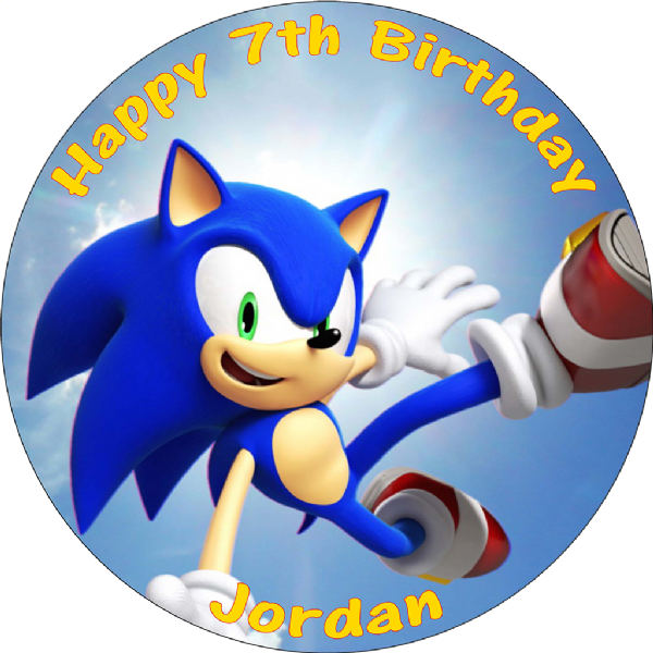 SONIC THE HEDGEHOG PERSONALISED EDIBLE ROUND BIRTHDAY CAKE TOPPER